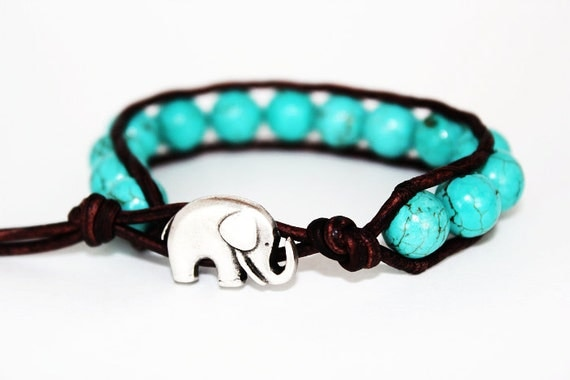 lucky elephant jewelry, elephant bracelet, leather beaded bracelet, animal jewelry, lucky jewelry, turquoise blue