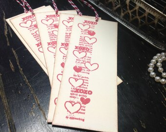 Wedding wish tree tags-Love tags-Heart tags-Heart favors-Valentine's Day gift tags-XOXO