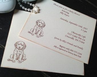 Puppy dog baby shower invitations- puppy dog birthday invitations