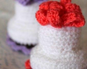 Crochet Mini Cakes, Pretend, Play Food Handmade  Wool Soft Toy Gift