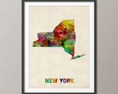 New York Watercolor Map USA, Art Print (348)