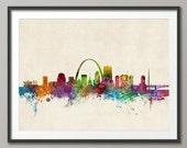 St Louis Skyline, St Louis Missouri Cityscape Art Print (984)