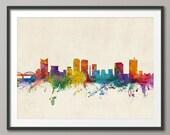 Fort Worth Skyline, Fort Worth Texas Cityscape Art Print (1003)