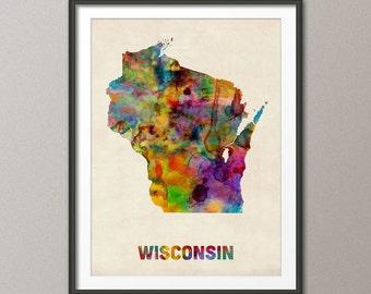 Wisconsin Watercolor Map USA, Art Print (379)