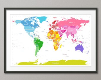 Political Map of the World Map, Art Print, 24x36 inch (914)