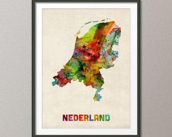 The Netherlands Watercolor Map (Nederland), Art Print (475)