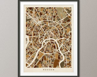 Moscow Street Map, Russia, Art Print (494)