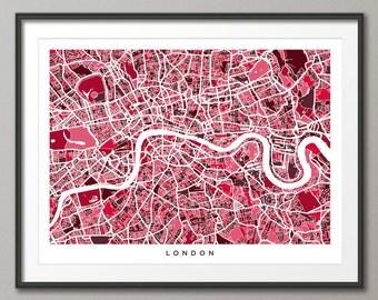 London Map, Street Map of London England, Art Print 500)