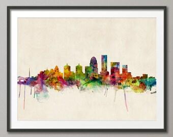 Louisville Skyline, Louisville Kentucky Cityscape Art Print (501)