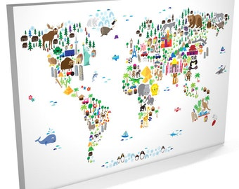 Animal Map of the World Map for children and kids, Canvas Art Print (61)