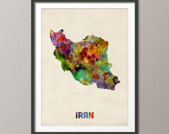 Iran Watercolor Map, Art Print (524)