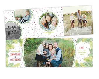 INSTANT DOWNLOAD - 5x5 Christmas Accordion Card Photoshop Template - E951