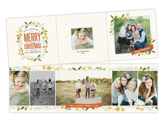 INSTANT DOWNLOAD - 5x5 Christmas Accordion Card Photoshop Template - E954