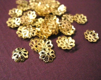 50 Gold Plated Filigree Flower Bead Caps  9 x 2 mm  bc101