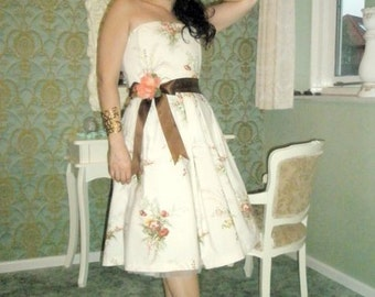 Vintage Inspired fifties SPRING SUMMER floral print cotton strapless dress
