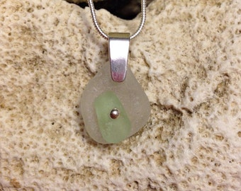 Sea glass jewelry- lime green and white Sea glass
