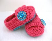 Baby Girl Shoes, Newborn, Infant, Crib Shoes, Booties, Turquoise, Pink, Newborn Photos, Photo Prop, Baby Shower Gift