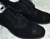 Genuine, Quality Made Vintage 1940's Goth or Gothic, Steampunk Shoes, Suede Leather, Rivet Buttons & Top Stitching Youth 3B, Women's Size 5