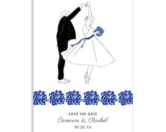 Custom Printable Save the Date Couple Dancing Illustrated Postcard