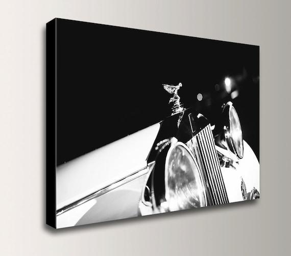 "Classic Car Art - Rolls Royce Bonnet Ornament - Vintage Black & White Photography - Canvas Print  "" Spirit of Ecstasy """