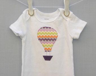 Hot Air Balloon shirt, Appliqued Hot air balloon bodysuit, hot air balloon bodysuit, hot air balloon baby shirt, 12 month shirt