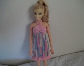 Stripped Halter Barbie Dress, Crocheted Barbie Clothes, Crocheted Barbie Dress, Halter Sundress for Barbie