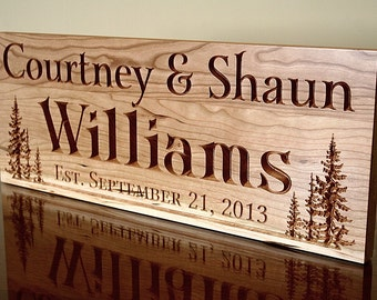 Cabin Sign, Lake House Sign, Family Name Sign, Rustic Sign, Rustic Home Décor, Rustic Wedding Sign, Benchmark Signs Cherry TL
