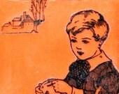 Boy with Apple Original Encaustic Painting
