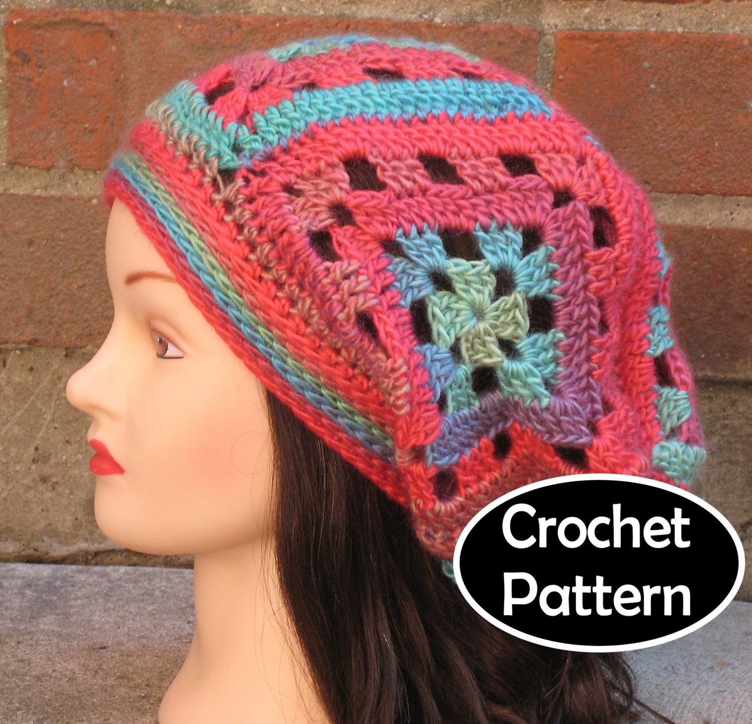 Crochet Granny Square Beanie Pattern : CROCHET HAT PATTERN Pdf Instant Download Cassidy Slouchy