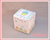 Cupcake with Sprinkles Printable PDF Gift Box - DIY - Party Favor Box - Holiday Wrapping Paper