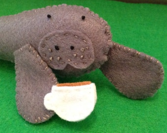 Manatee with Tea - soft felt toy - Fun, cute gift for Tea Lovers