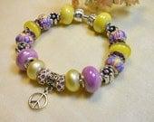 Peace European Bracelet, Groovy Flower Power Bracelet, Purple and Yellow Beaded Bracelet, Ladies Girls Bracelet