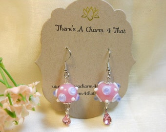 Lampwork Earrings, Pink and Blue Bubble Glass Beaded Earrings, Unique Glass Earrings, Fun Bubble Earrings
