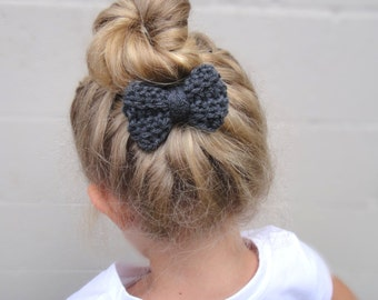 Small Charcoal Crochet Bow Hair Band / Ponytail Holder / Hair Elastic, Handmade Crocheted, Girls Teens Women's Accessory, Knitted Bun Wrap