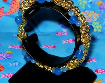 Byzantine and Blue Agate bracelet - Chainmaille