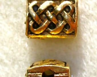 Pewter Celtic Rectangle Knot Beads - 10 beads in either Antique gold or Antique Pewter finish