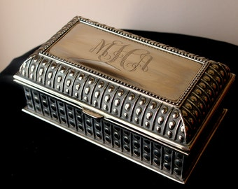 Large Rectangle Beaded Jewelry Box, Monogrammed Jewelry Box, Bridesmaid Monogrammed Gift