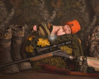 Newborn Photo Prop - Hat and Pants Set - Orange Hunting Beanie  - Camo Cargo Pants - Baby Hunter - Baby Boy-Newborn Boy