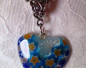 Heart Shaped Glass Pendant on Ball Chain