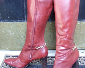 ANNE KLEIN Stylish Brown Leather Vintage Boots US Size 8M