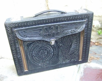 Vintage Tooled Leather Briefcase c 1970s