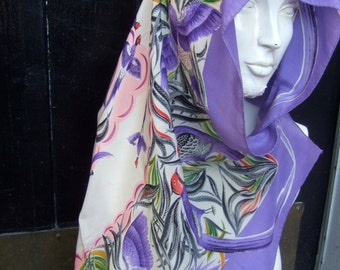 Occupied Japan Lovely Silk Scarf c 1950