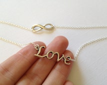 infinity & love layering anklet set, gift set, bridesmaid gift, bridesmaid jewelry, anniversary birthday friendship sister gift, love you