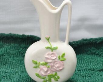 Vintage Tall Pitcher Bud Vase - Roses - Pottery