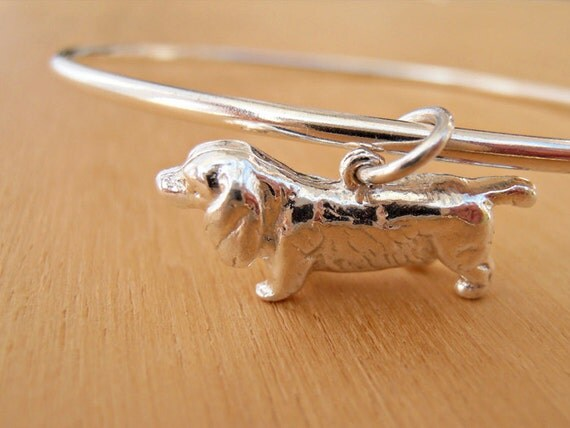 Sausage Dog Bangle - Silver Dachshund, Doxie - Sterling Silver