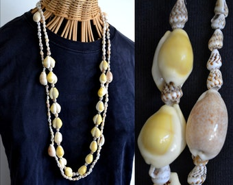Vintage Long Cowry Sea Shell Necklaces Hawaii Leis Seashell Chain Jewelry Tropical Island Hawaiian South Pacific Exotic Yellow Green Brown