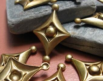 Vintage Geo Retro Diamond Brass Findings.  18 pcs.