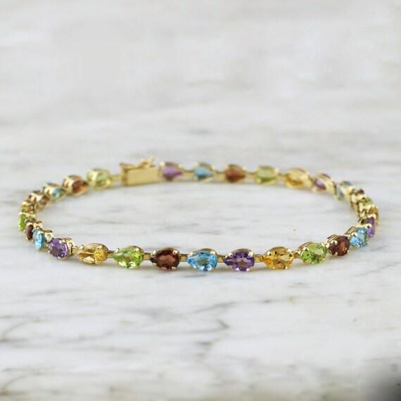 RESERVED Vintage 14k Gold Multi-Gem Rainbow Tennis Bracelet