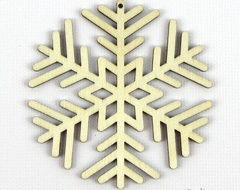 Round Flake - Laser Cut Wood Snowflake in Multiple Sizes and Quantity Discounts