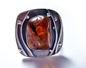 SALE 20% OFF. Silver Amber Ring. Unique Baltic Amber Ring. An adjustable Ring. Silver Ring With An Artistic Soul. A nicely wrapped gift.